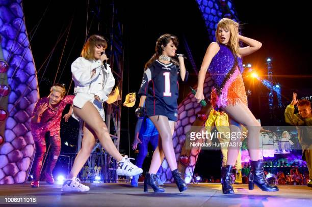 Charli XCX, Camila Cabello and Taylor Swift perform onstage during the Taylor Swift reputation Stadium Tour at Gillette Stadium on July 28, 2018 in...