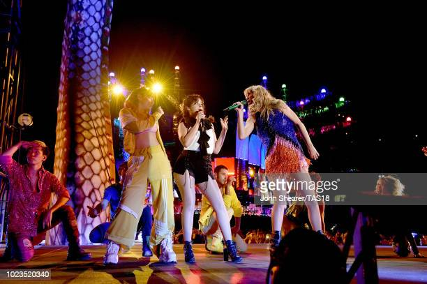 Charli XCX Camila Cabello and Taylor Swift perform onstage during the reputation Stadium Tour at Nissan Stadium on August 25 2018 in Nashville...