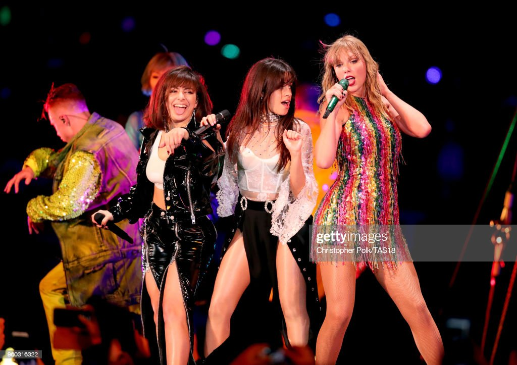 Charli XCX, Camila Cabello and Taylor Swift perform onstage during the Taylor Swift reputation Stadium Tour at the Rose Bowl on May 19, 2018 in Pasadena, California