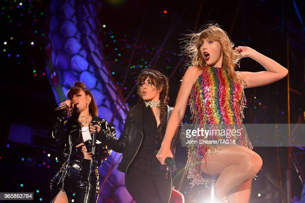 Charli XCX Camila Cabello and Taylor Swift perform onstage during the 2018 reputation Stadium Tour at Soldier Field on June 1 2018 in Chicago Illinois