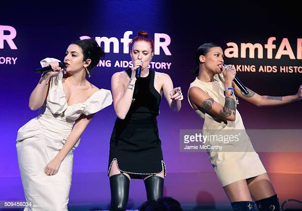 Charli XCX, Caroline Hjelt and Aino Jawo perform onstage during the 2016 amfAR New York Gala at Cipriani Wall Street on February 10, 2016 in New York...