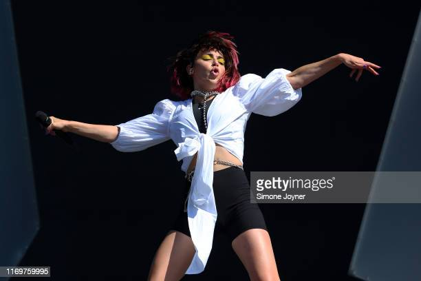 Charli XCX performs live on the Main Stage during day one of Reading Festival 2019 at Richfield Avenue on August 23, 2019 in Reading, England.