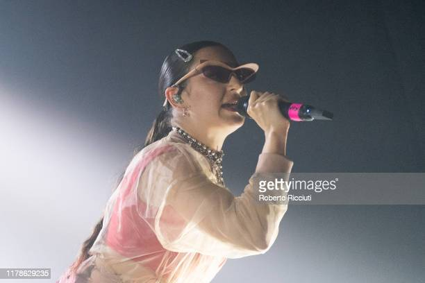 Charli XCX performs on stage at SWG3 on October 27 2019 in Glasgow United Kingdom