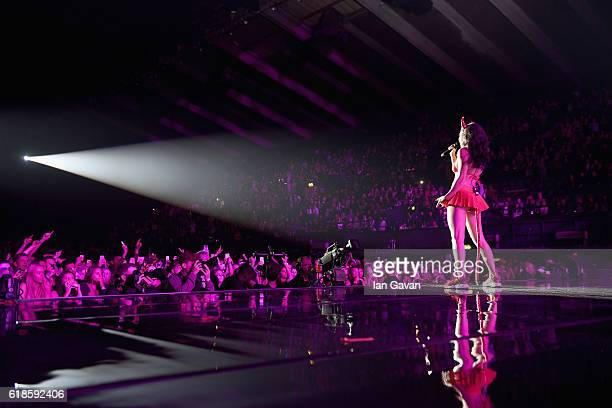 Charli XCX performs on stage at the Kiss FM Haunted House Party at SSE Arena on October 27 2016 in London England