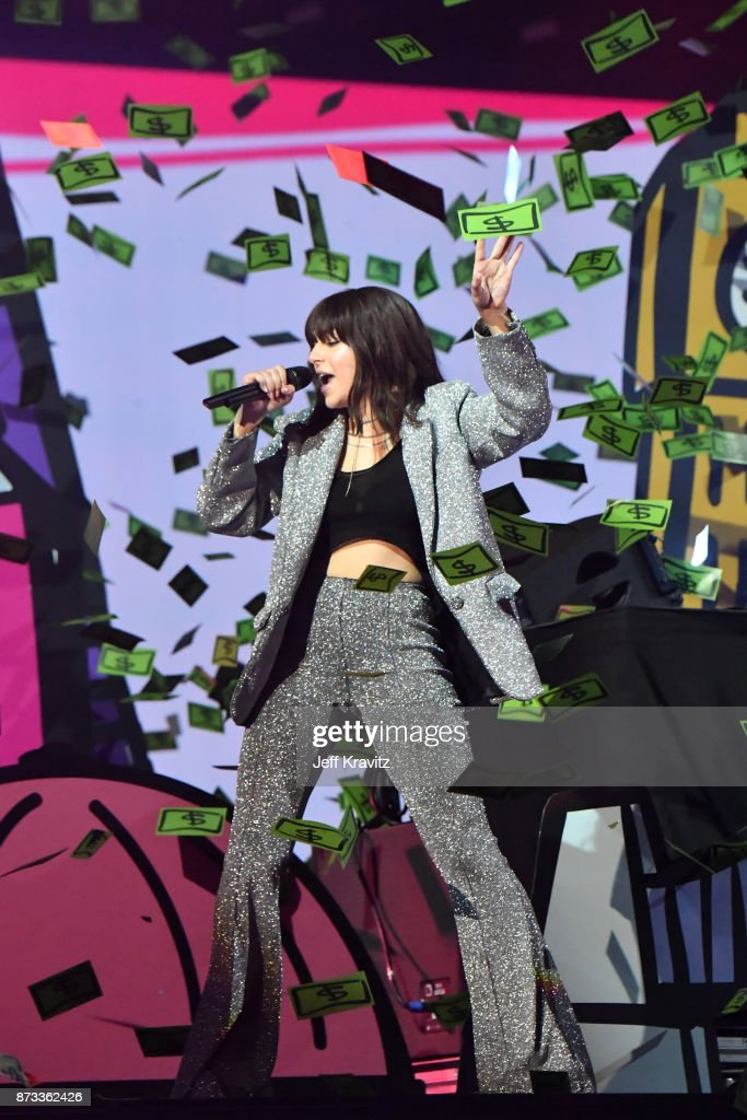 Charli XCX performs on stage during the MTV EMAs 2017 held at The SSE Arena, Wembley on November 12, 2017 in London, England.