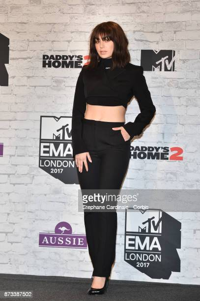 Charli XCX poses in the Winners Room during the MTV EMAs 2017 held at The SSE Arena Wembley on November 12 2017 in London England