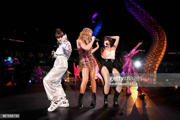 Charli XCX Taylor Swift and Camila Cabello perform onstage during Taylor Swift reputation Stadium Tour at Levi's Stadium on May 11 2018 in Santa...
