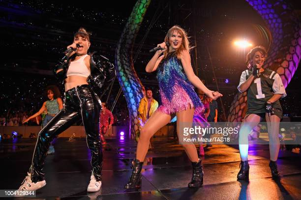 Charli XCX Taylor Swift and Camila Cabello perform onstage during the Taylor Swift reputation Stadium Tour at MetLife Stadium on July 22 2018 in East...
