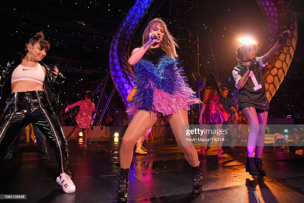 Charli XCX, Taylor Swift, and Camila Cabello perform onstage during the Taylor Swift reputation Stadium Tour at MetLife Stadium on July 22, 2018 in East Rutherford, New Jersey.