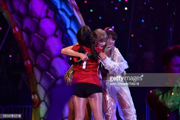 Charli XCX, Taylor Swift, and Camila Cabello perform onstage during the Taylor Swift reputation Stadium Tour at Mercedes-Benz Stadium on August 10,...