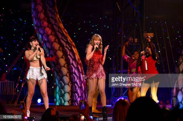 Charli XCX, Taylor Swift and Camila Cabello perform onstage during the Taylor Swift reputation Stadium Tour at Mercedes-Benz Stadium on August 11,...