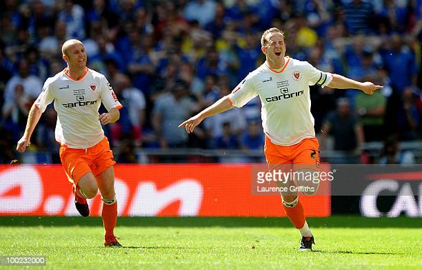 Charlie Adam of Blackpool celebrates his 11 equalising goal during the CocaCola Championship Playoff Final between Blackpool and Cardiff City at...