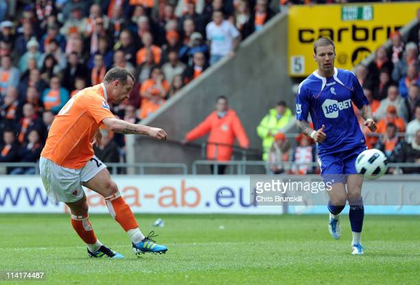 Charlie Adam of Blackpool scores his side's fourth goal during the Barclays Premier League match between Blackpool and Bolton Wanderers at Bloomfield...