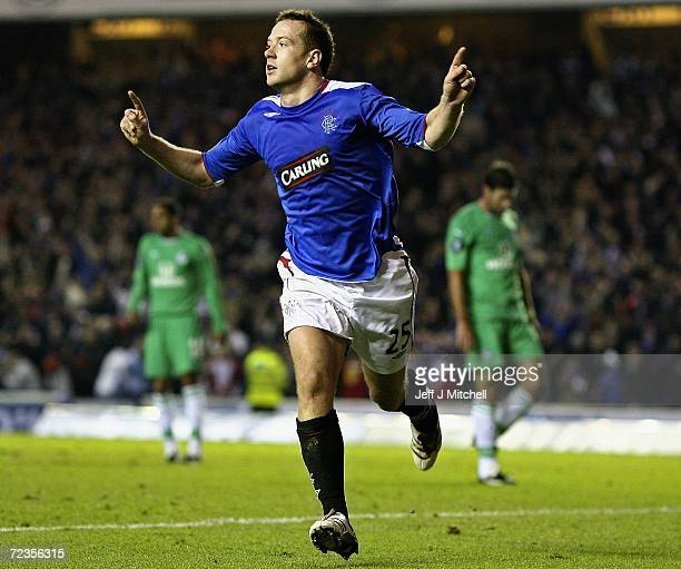 Charlie Adam of Rangers celebrates after scoring during the UEFA Cup Group A match between Rangers and Maccabi Haifa at Ibrox stadium on November 2,...
