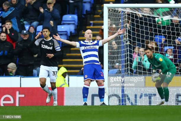 Charlie Adam of Reading celebrates after scoring his sides first goal from a penalty during the Sky Bet Championship match between Reading and Derby...
