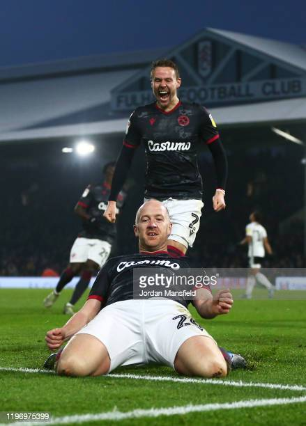 Charlie Adam of Reading celebrates scoring his sides second goal during the Sky Bet Championship match between Fulham and Reading at Craven Cottage...