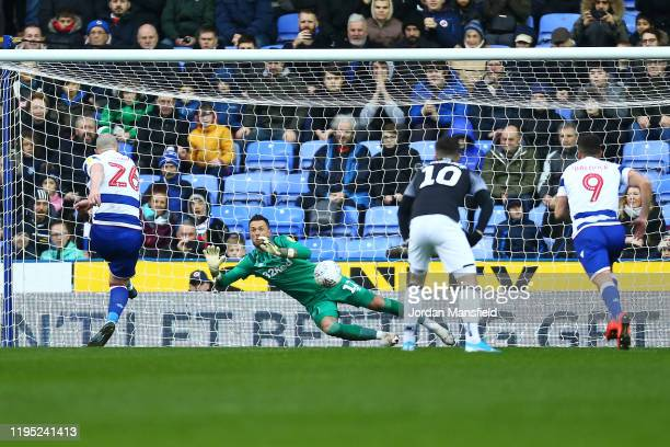 Charlie Adam of Reading scores his sides first goal from a penalty during the Sky Bet Championship match between Reading and Derby County at Madejski...
