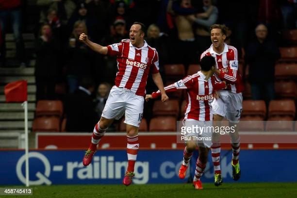 Charlie Adam of Stoke celebrates his goal during the Barclays Premier League match between Stoke City and Aston Villa at the Britannia Stadium on...