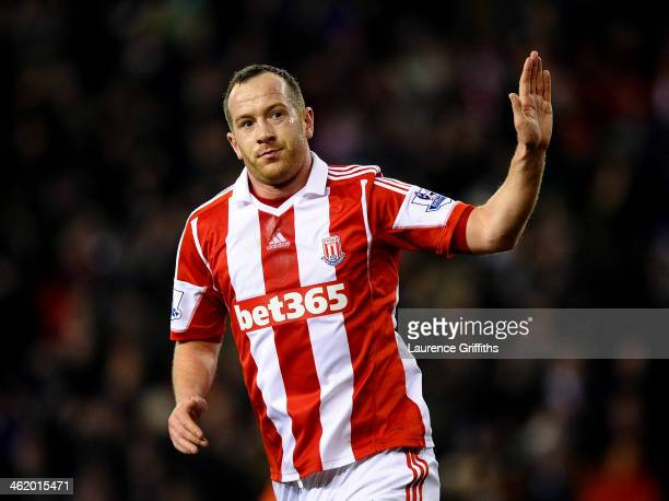 Charlie Adam of Stoke City celebrates as he scores their second goal during the Barclays Premier League match between Stoke City and Liverpool at...