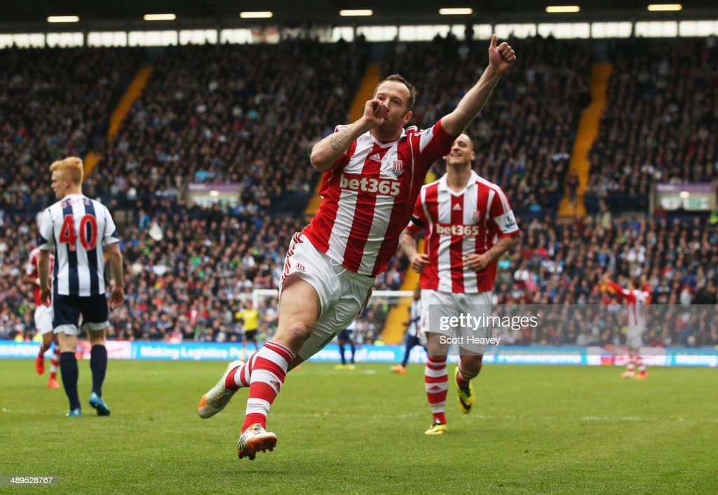 Charlie Adam of Stoke City celebrates as he scores their second goal during the Barclays Premier League match between West Bromwich Albion and Stoke City at The Hawthorns on May 11, 2014 in West Bromwich, England.