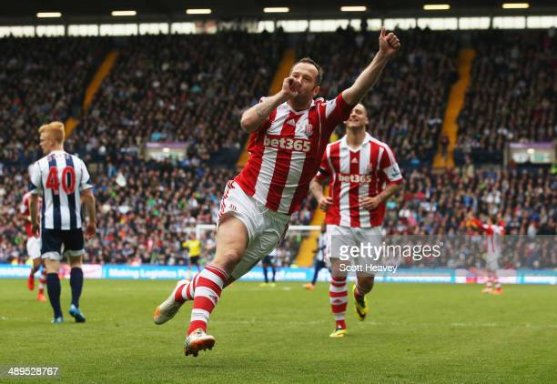 Charlie Adam of Stoke City celebrates as he scores their second goal during the Barclays Premier League match between West Bromwich Albion and Stoke...