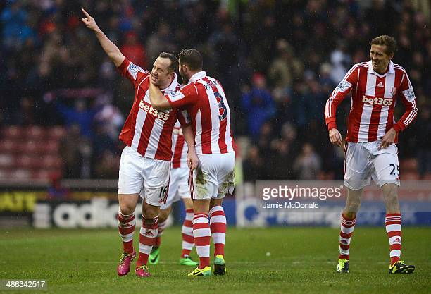 Charlie Adam of Stoke City celebrates scoring his second goal during the Barclays Premier League match between Stoke City and Manchester United at...