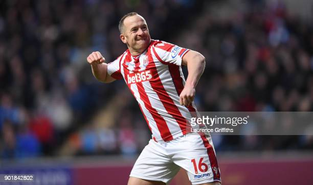 Charlie Adam of Stoke City celebrates scoring the first Stoke goal during the The Emirates FA Cup Third Round match between Coventry City and Stoke...