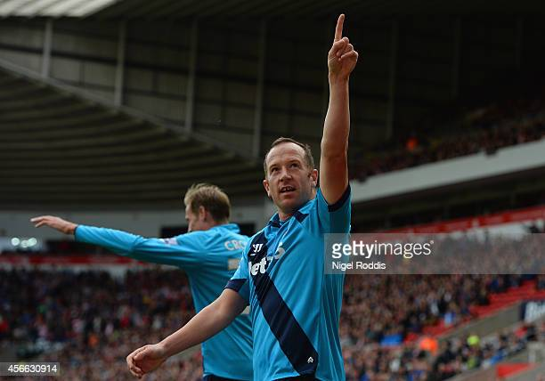 Charlie Adam of Stoke City celebrates scoring their first goal during the Barclays Premier League match between Sunderland and Stoke City at Stadium...