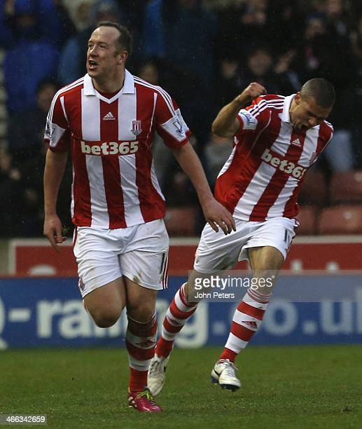 Charlie Adam of Stoke City celebrates scoring their second goal during the Barclays Premier League match between Stoke City and Manchester United at...
