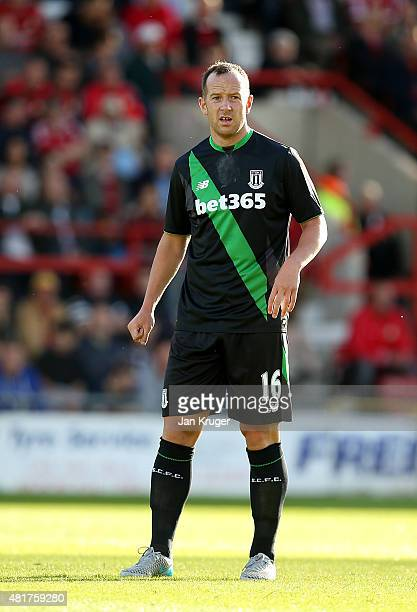 Charlie Adam of Stoke City during the pre season friendly match between Wrexham and Stoke City at Racecourse Ground on July 22 2015 in Wrexham Wales