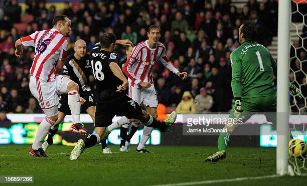 Charlie Adam of Stoke City scores a goal during the Barclays Premier League match between Stoke City and Fulham at the Britannia Stadium on November...