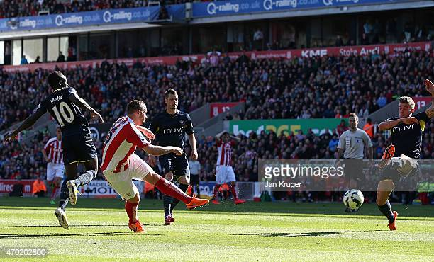 Charlie Adam of Stoke City scores his team's second goal during the Barclays Premier League match between Stoke City and Southampton at the Britannia...