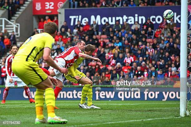 Charlie Adam of Stoke City scores the opening goal during the Barclays Premier League match between Stoke City and Tottenham Hotspur at Britannia...