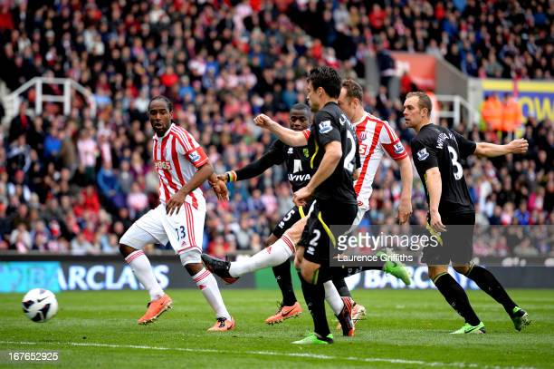 Charlie Adam of Stoke scores the opening goal during the Barclays Premier League match between Stoke City and Norwich City at the Britannia Stadium...