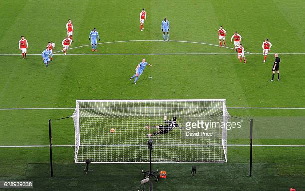 Charlie Adam scores Stokes goal during the Premier League match between Arsenal and Stoke City at Emirates Stadium on December 10 2016 in London...