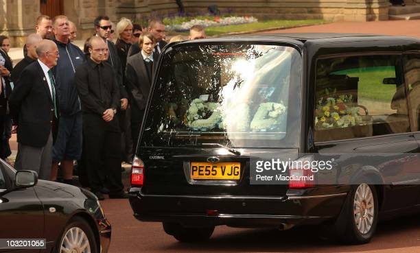 Charlie Alexander watches as the coffin of his nephew Raoul Moat arrives at West Road Crematorium on August 2, 2010 in Newcastle upon Tyne, England....