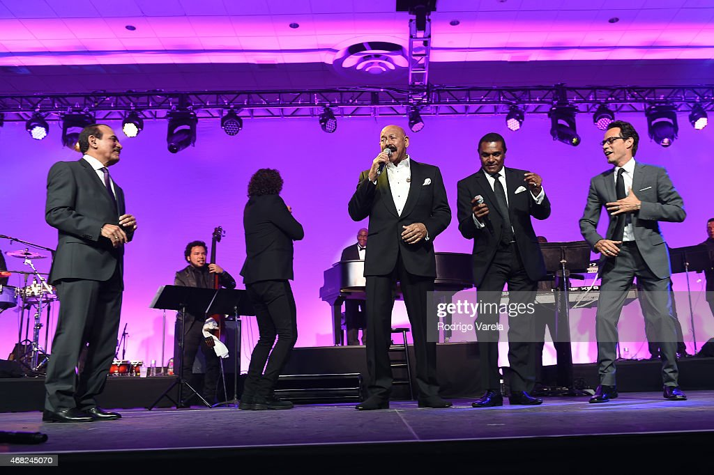 Charlie Aponte, Carlos Vives, Oscar D'Leon, Jose Alberto and Marc Anthony perform onstage at BMI's 22nd Annual Latin Music Awards at Fountainbleau Miami Beach on March 31, 2015 in Miami Beach, Florida.
