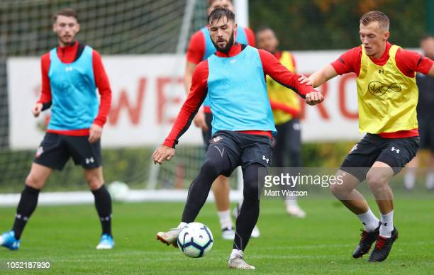 Charlie Austin and James WardProwse during a Southampton FC training session at the Staplewood Campus on October 15 2018 in Southampton England