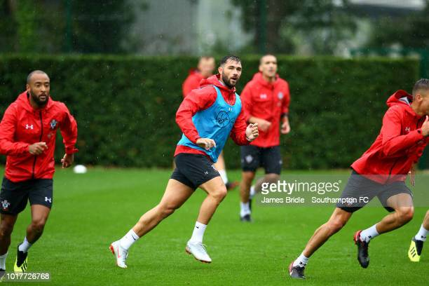 Charlie Austin during a Southampton FC training session at Staplewood Complex on August 16 2018 in Southampton England