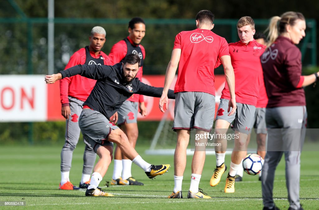 Charlie Austin during a Southampton FC training session at the Staplewood Campus on October 12, 2017 in Southampton, England.