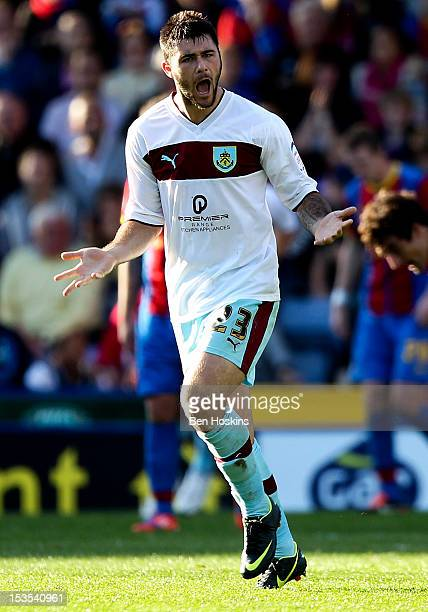Charlie Austin of Burnley encourages his team after scoring their third goal of the game during the npower Championship match between Crystal Palace...