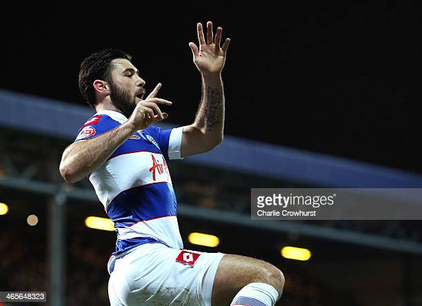 Charlie Austin of QPR celebrates after scoring the first goal of the game during the Sky Bet Championship match between Queens Park Rangers and...