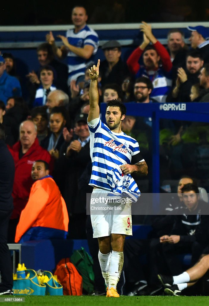 Charlie Austin of QPR celebrates after scoring the winning goal during the Barclays Premier League match between Queens Park Rangers and Leicester City at Loftus Road on November 29, 2014 in London, England.