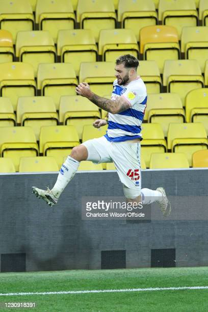 Charlie Austin of QPR celebrates after scoring their 1st goal during the Sky Bet Championship match between Watford and Queens Park Rangers at...