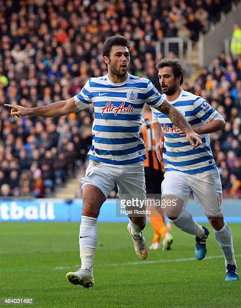 Charlie Austin of QPR celebrates as he scores their first and equalising goal during the Barclays Premier League match between Hull City and Queens...