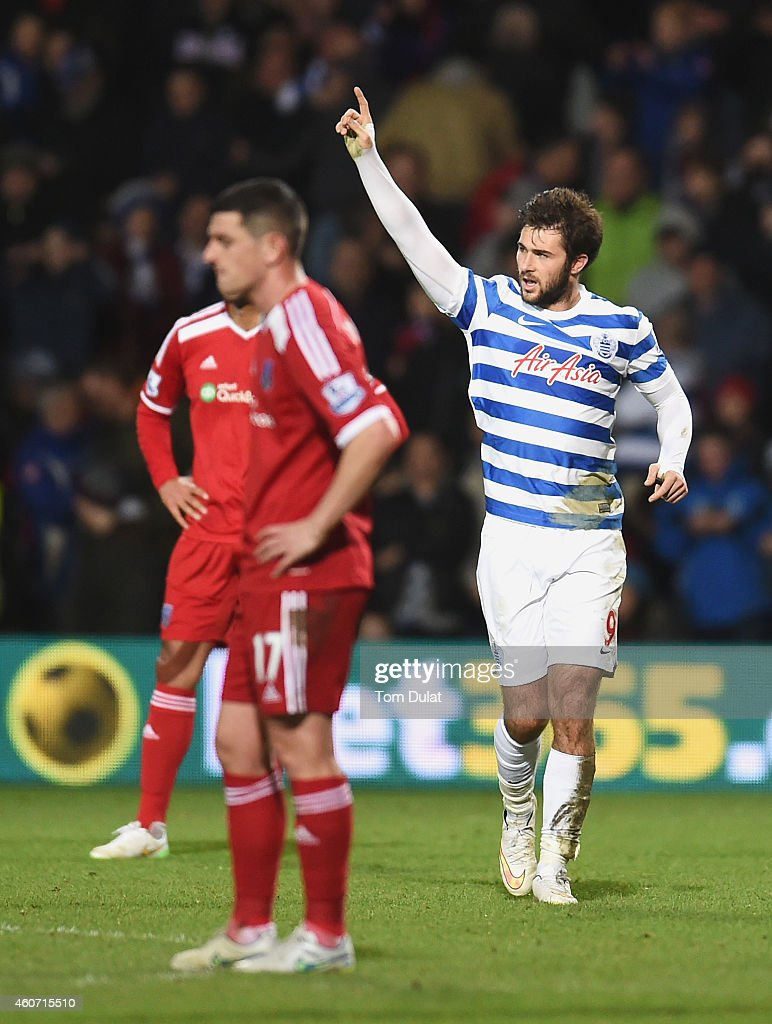 Charlie Austin of QPR celebrates his third goal during the Barclays Premier League match between Queens Park Rangers and West Bromwich Albion at Loftus Road on December 20, 2014 in London, England.