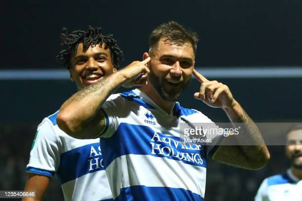 Charlie Austin of QPR celebrates scoring the 1st goal during the Carabao Cup Third Round match between Queens Park Rangers and Everton at Loftus Road...