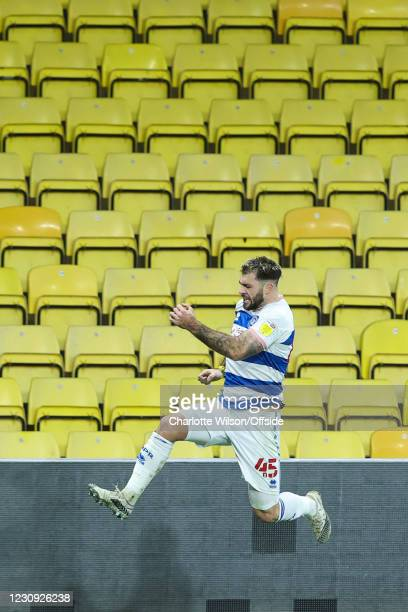 Charlie Austin of QPR celebrates scoring their 1st goal during the Sky Bet Championship match between Watford and Queens Park Rangers at Vicarage...