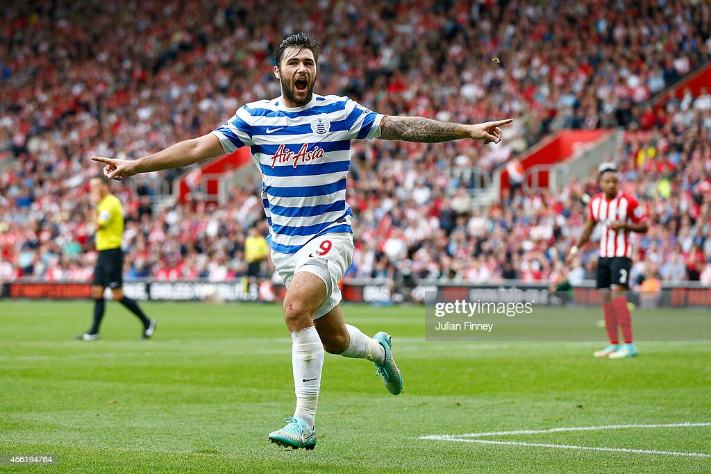 Charlie Austin of QPR celebrates scoring their first goal during the Barclays Premier League match between Southampton and Queens Park Rangers at St Mary's Stadium on September 27, 2014 in Southampton, England.