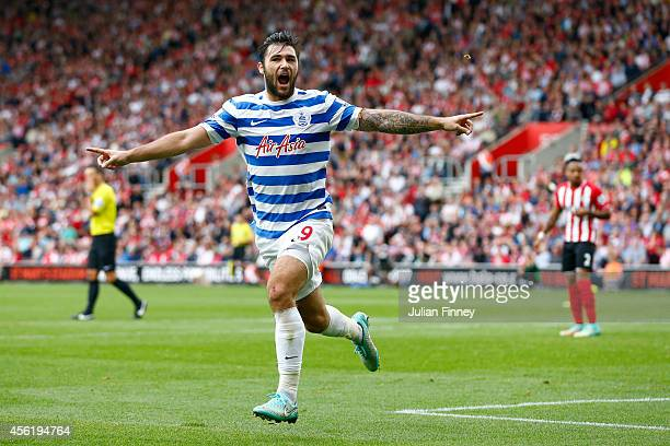 Charlie Austin of QPR celebrates scoring their first goal during the Barclays Premier League match between Southampton and Queens Park Rangers at St...